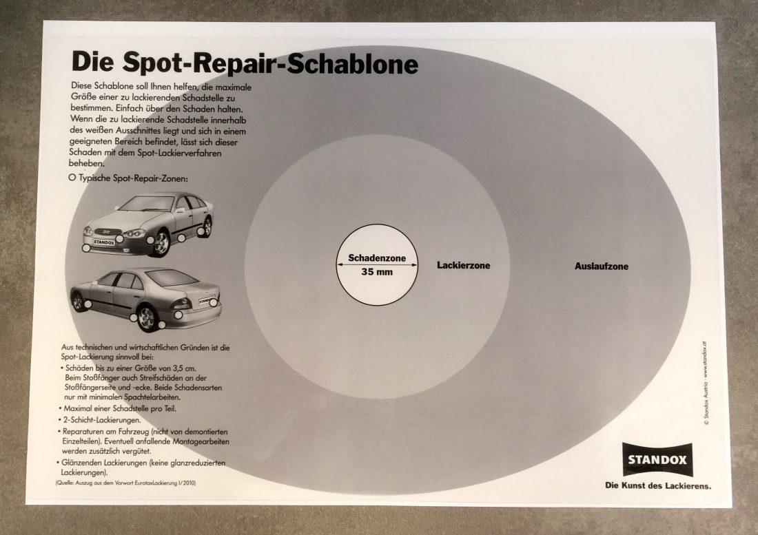 Die Spot Repair Schablone für die ideale Anwendung.